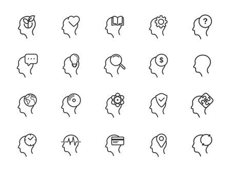 Thinking Heads line icons - Editable Stroke Illustration