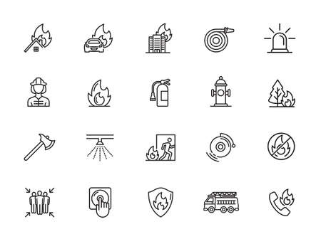 Set of Firefighter Line Icons. Fireman, Evacuation Plan, Hydrant and more. Illustration