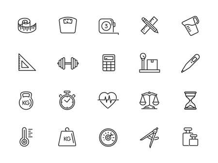 Measuring, measure elements - minimal thin line web icon set. Outline icons collection. Illustration