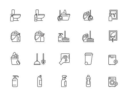 Cleaning and Housework line icon - outline web icon set, vector, thin line icons collection