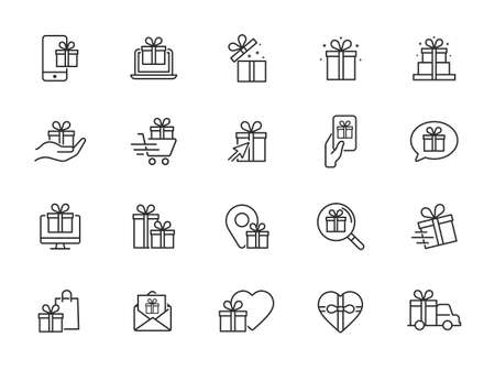 Set of gift icons, gift box, special gift, present - Editable Stroke