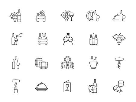 set of wine icons, wine bottle, grape, cork, alcohol, cheese - minimal thin line web icons set