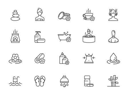 Spa Salon Vector Line Icons Set. Wellness Center, Stone Massage, Alternative Medicine, Treatment, Therapy.
