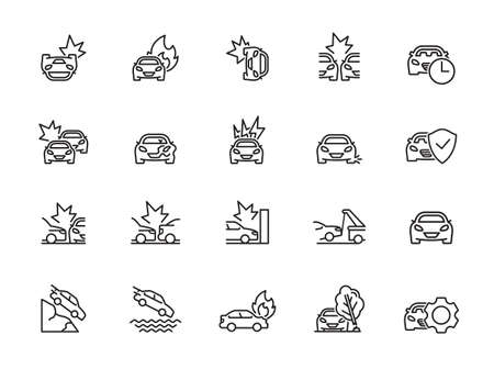Car insurance icon set. Included icons as emergency, risk management, protection, accident, Side Collision, Front Collision, Broken Car and more. Illustration