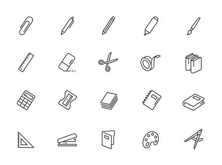 Line Stationery Icons - outline web icon set, vector, thin line icons collection