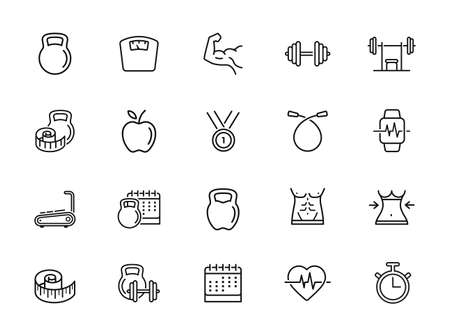 Simple Set of Fitness Related Vector Line Icons. Contains such Icons as Workout, Sleep, Diet Plan, Sport Supplements, Nutrition and more. Editable Stroke.