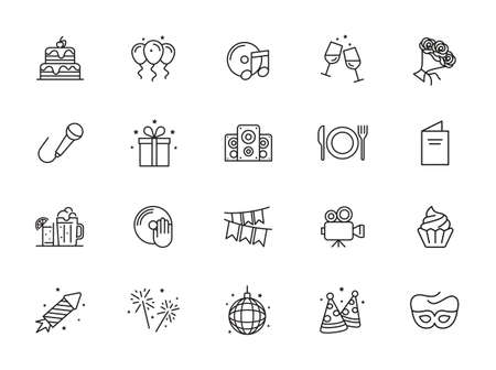 Simple Set of Related Vector Line Icons. Contains such Icons as Bouquet of Flowers, Karaoke, Dj, Masquerade and more. Ilustração