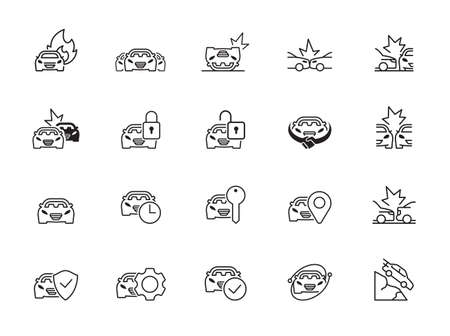 Simple Set of Car Accident Related Vector Line Icons. Contains such Icons as Side Collision, Frontal Collision, Broken Car, Damaged Elements and more. Editable Stroke.