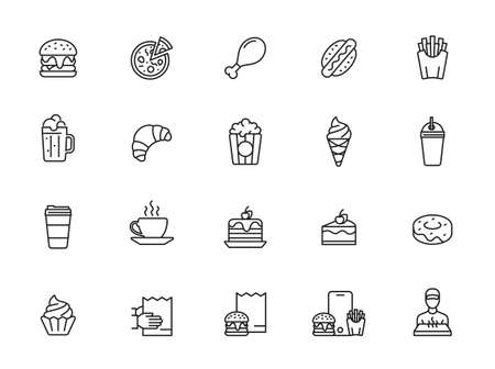 Fast food line icon set. Burger sandwich pizza hot dog cola coffee sweets Illustration
