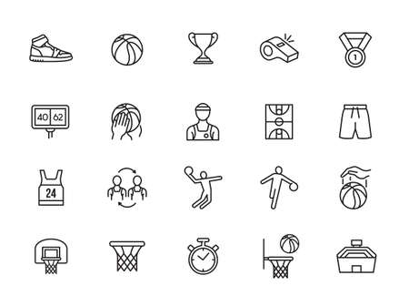 Basketball icons. Included the icons as basketball player, dunk, shoot, competition, match, hoop and more.