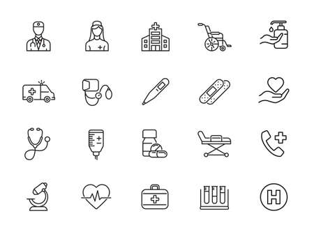 Simple Set of Medical Assistance Related Vector Line Icons. Contains such Icons as Wheelchair, Special Diet, Hospital Locator and more.