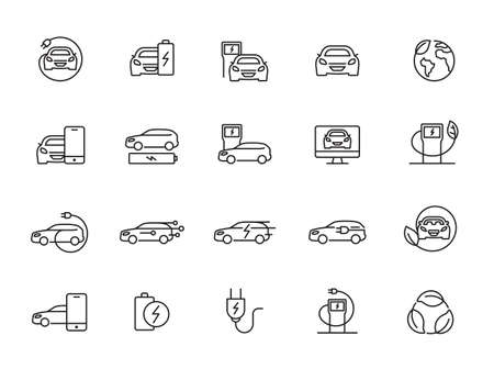Simple Set of Electro Car Related Vector Line Icons. Contains such Icons as Charger Station, Travel Distance, Torque, Power and more.