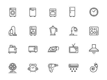 Set of household appliances icons - outline web icon set, vector, thin line icons collection