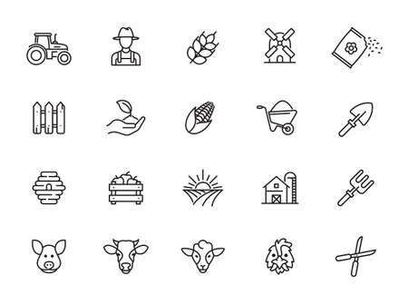 Collection of farming related line icons. Outline icons collection. Simple vector illustration.