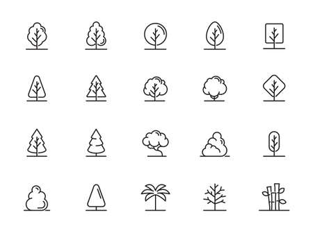 Tree Vector Line Icon Set. Contains such Icons as Wood, Plant, Pine, Cactus, Bamboo and more.