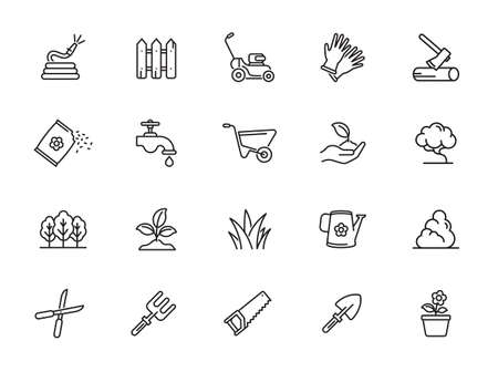 Simple Set of Gardening Related Vector Line Icons. Contains such Icons as Auto Watering, Seeding, Garden Tools and more.