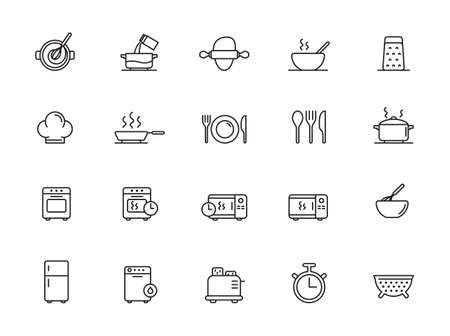 Simple Set of Cooking Related Vector Line Icons. Contains such Icons as Kitchen Utensils, Boiling and Frying Time, Cookbook and more. Editable Stroke. Illustration