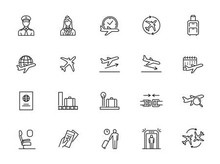 Airport Vector Line Icons. Air Transportation, Air Travel, Tickets, Baggage Claim, Takeoff and Landing of Aircraft.