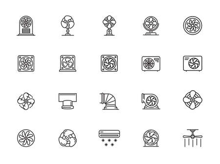 Airflow icons set. Outline set of ventilation vector icons for web design isolated on white background Illustration