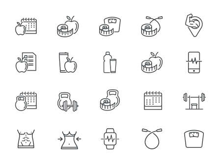 Fitness Vector Line Icons Set. Healthy Lifestyle, Sport, Diet, Workout. Editable stroke