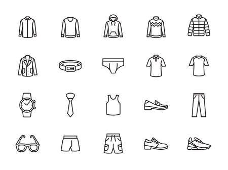 Man clothes icon set. Included the icons as shorts, workwear, fashion, jean, shirt, pants, accessories and more. 矢量图像