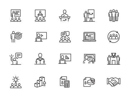 Simple Set of Business Training Related Vector Line Icons. Contains such Icons as Presentation, Class, Mentoring and more. Illustration