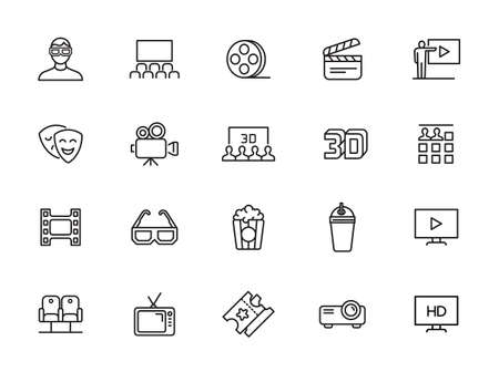 Set of Cinema and Entertainment Vector Line Icons with Movie Theater, Film Strip, Popcorn, Video Clip, 3d Glasses and more.
