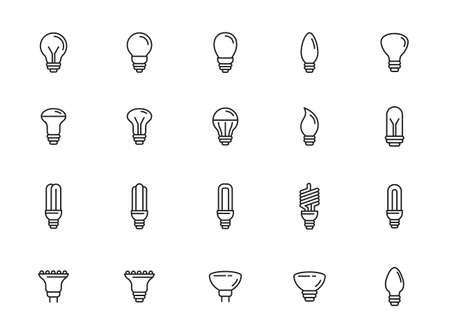 Light bulbs vector icon set in thin line style - editable stroke Illustration