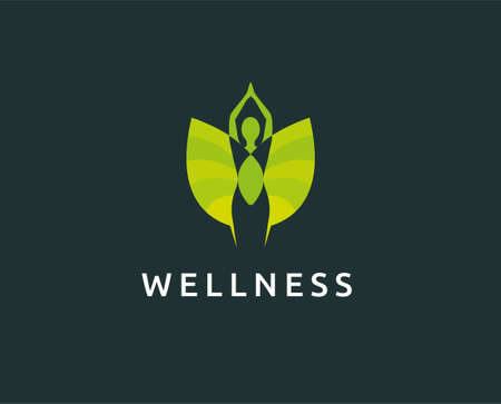 yoga logo design stock. human meditation in lotus flower vector illustration in purple color