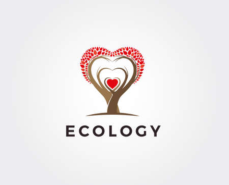 icon of tree illustration with the concept of unity of people reaching love (heart symbol) Illustration