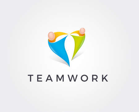 Unity people logo template. Man and woman figures in shape of love