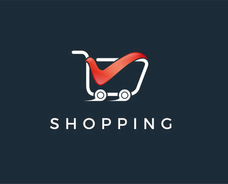 Online store logo design vector. Shopping cart and price tag logo design concept. Price tag logo template.