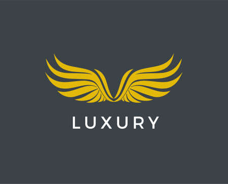 Vector graphic golden wings symbol with sample text for your company