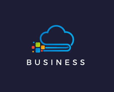 data cloud vector logo design. pixel cloud logo
