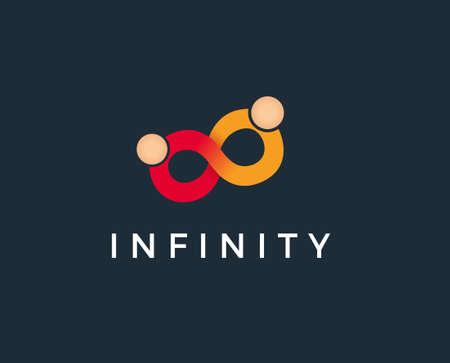 Infinity symbol with people meeting flat minimal icon Illustration