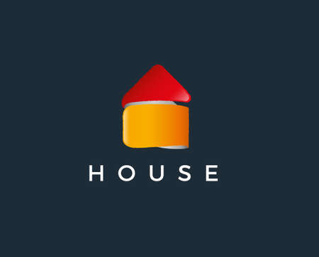 Abstract house logo design template. Colorful sign. Universal vector icon Ilustração