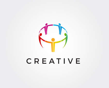 Five happy motivated people in a round colorful logo