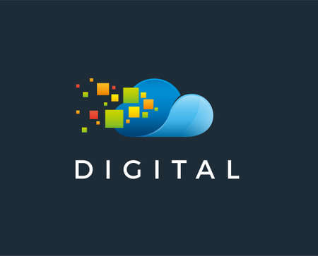 Pixel Cloud Logo Design Vector