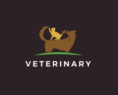 Pet shop logo. Animals cat, dog, parrot icon. Vector illustration Illustration