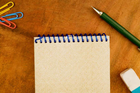 Spiral Notepad,mechanic pencil, eraser and clips Stock Photo - 3361362