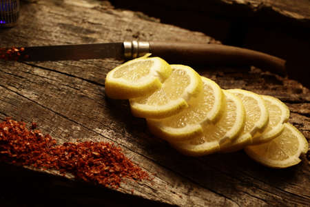 Lemon slices on wood