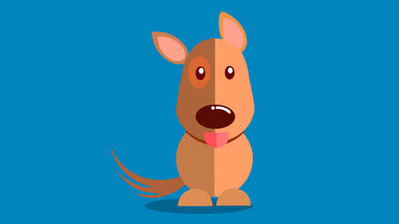 Smiling dog with tongue sticking out vector illustration with blue background.