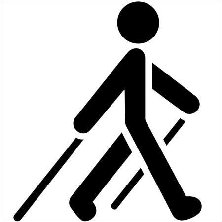 Nordic walking black icon on white background. EPS 10 illustration. Векторная Иллюстрация