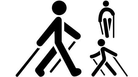 Nordic walking black icon on white background. EPS 10 illustration.