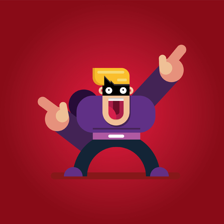 Flat cartoon character. Handsome thief vector icon character.Face of fat people icons cartoon style.  イラスト・ベクター素材