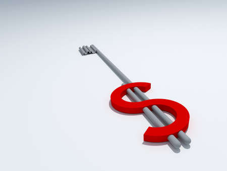 dollar key 3D high quality render Stock Photo - 10143720