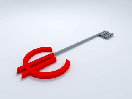 euro key 3D high quality render Stock Photo