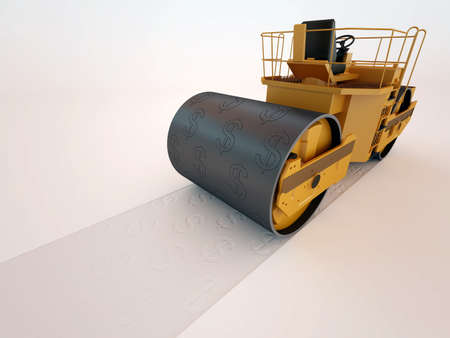 dollar press road roller 3D high quality render Stock Photo - 10143728