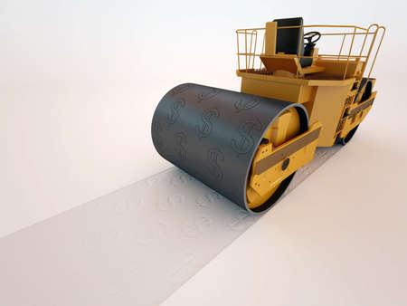 dwell: dollar press road roller 3D high quality render