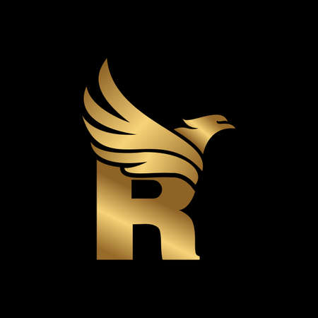 Letter R with Eagle Gold Logotype